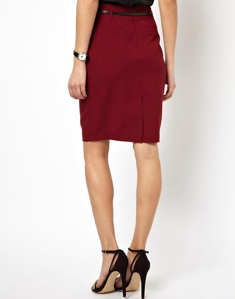 asos belted pencil skirt in black wine lyst