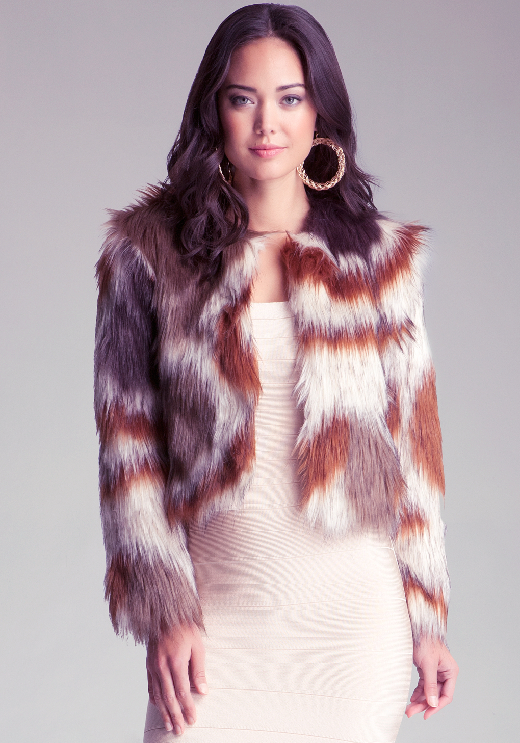 Bebe Multi Colored Faux Fur Coat Lyst