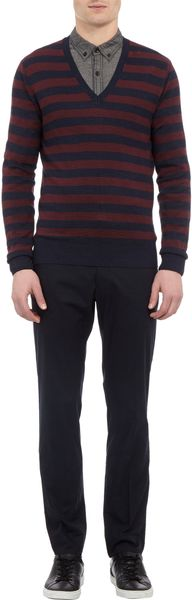 Burberry Striped V-neck Sweater - Lyst