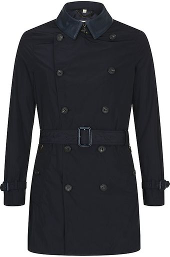 Burberry Leather Collar Trench Coat - Lyst
