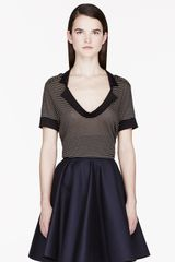 Burberry Prorsum Brown and Black Striped Jersey T_shirt - Lyst