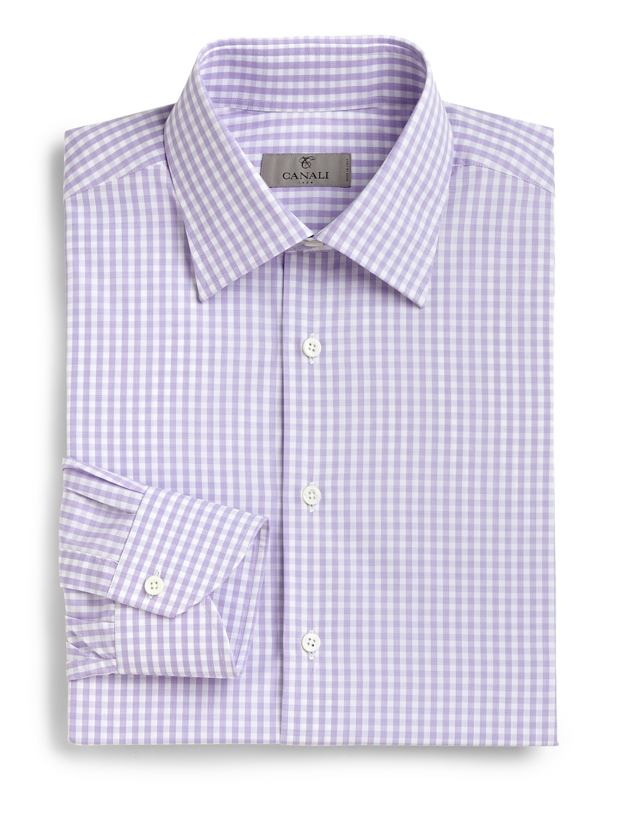 Canali regular fit gingham dress shirt in purple for men for Men s purple gingham shirt