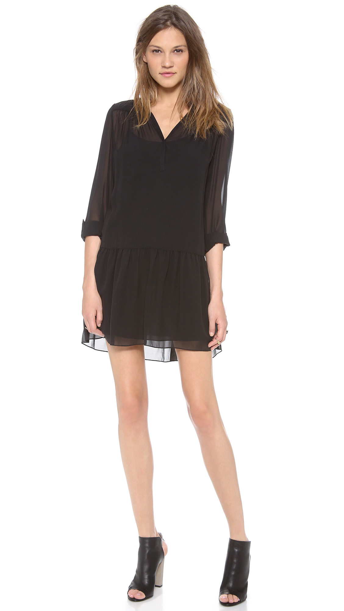 Lyst Dkny Pure Drop Waist Tunic Dress In Black