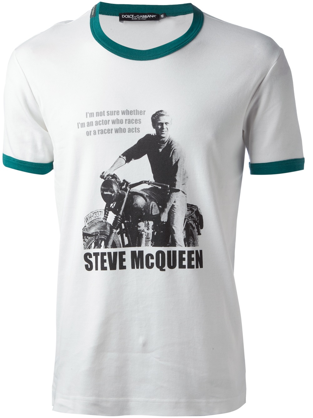 lyst dolce gabbana steve mcqueen quote tshirt in white. Black Bedroom Furniture Sets. Home Design Ideas