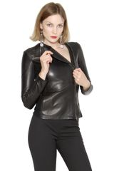 Emporio Armani Super Soft Lamb Leather Jacket - Lyst