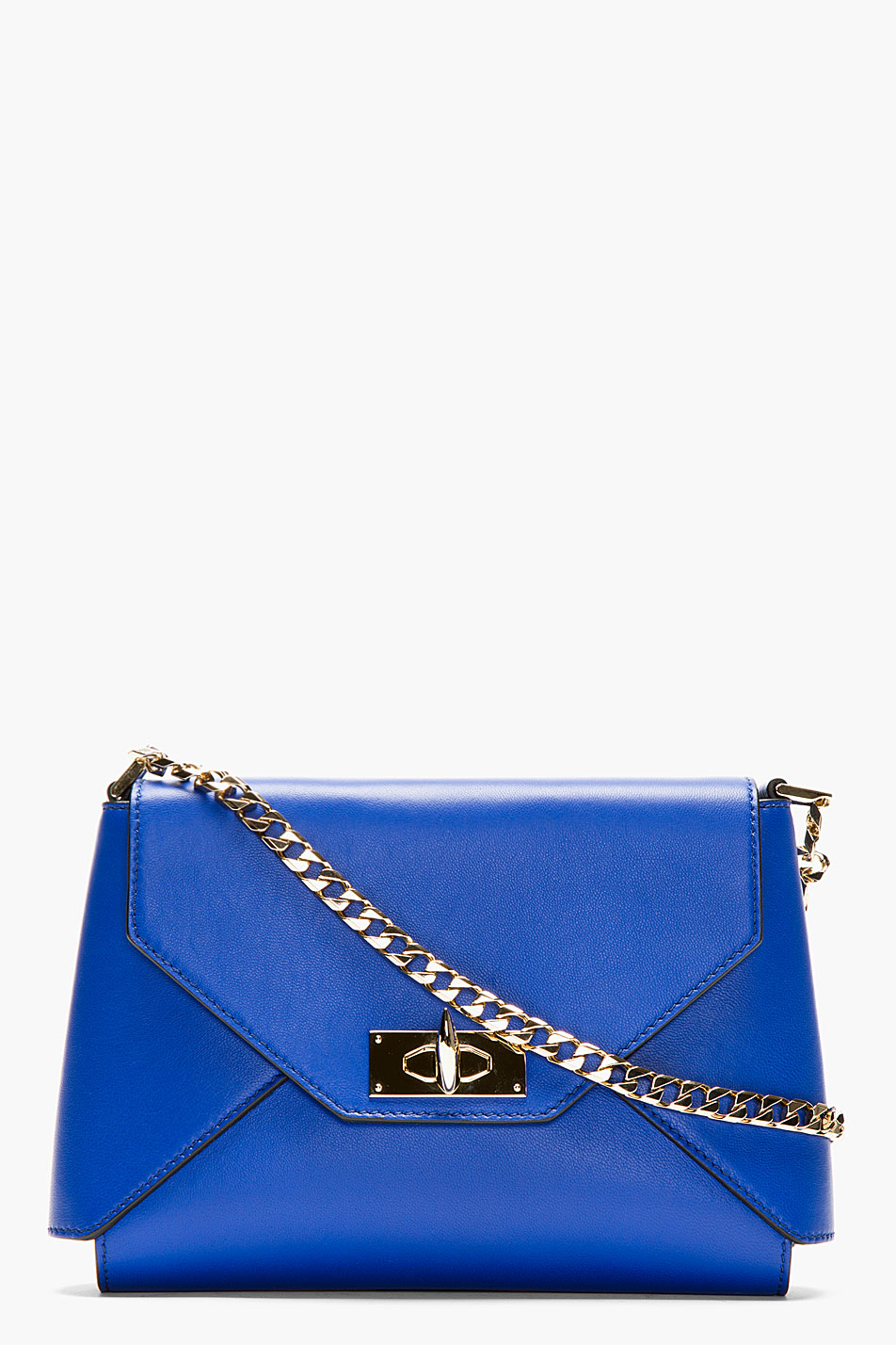 Givenchy Royal Blue Leather Shark Lock Envelope Shoulder Bag in Blue