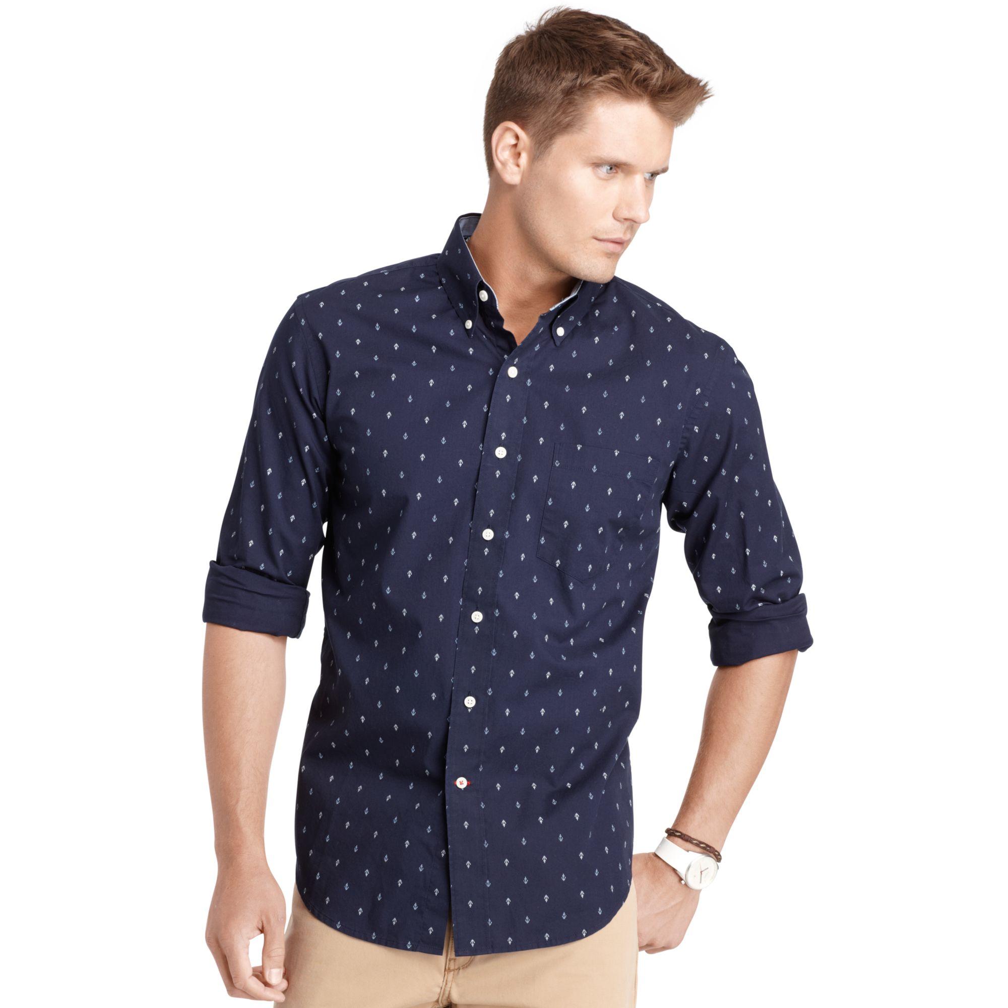 Lyst Izod Long Sleeve Anchor Print Shirt In Blue For Men