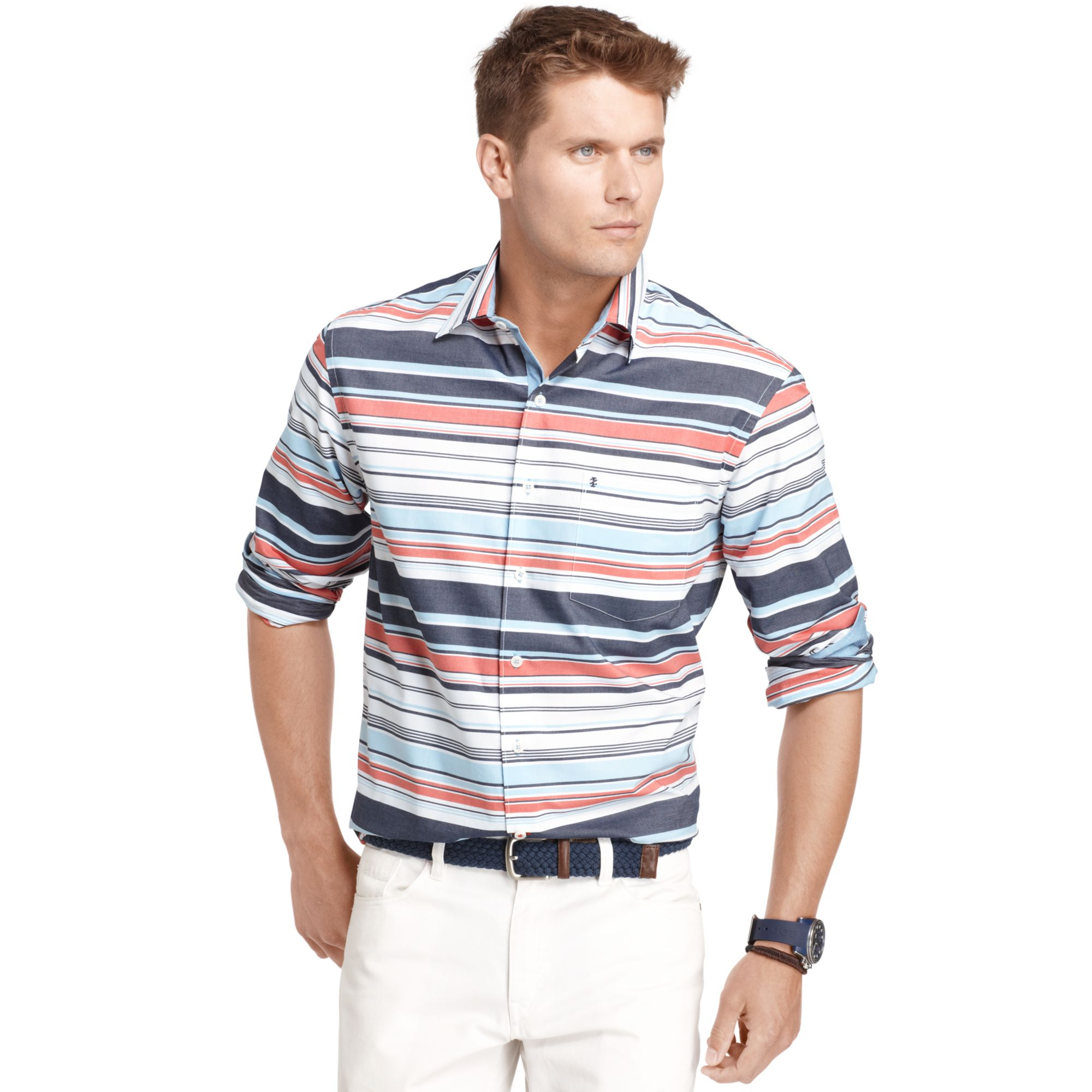 Izod slim fit striped button down shirt in multicolor for for Izod button down shirts