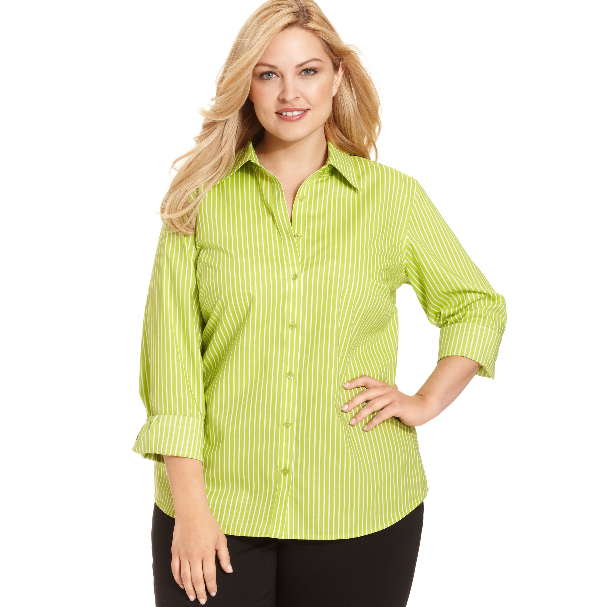 Jones new york signature plus size easy care longsleeve for New york and company dress shirts