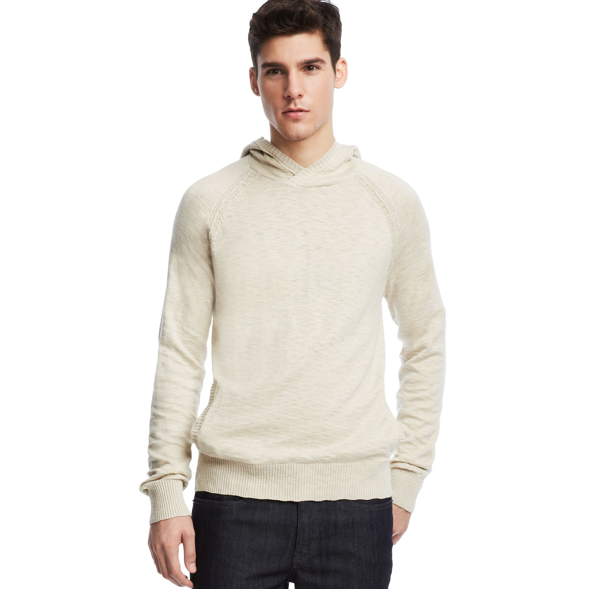kenneth cole reaction long sleeve pullover hoodie sweater in natural for men lyst. Black Bedroom Furniture Sets. Home Design Ideas