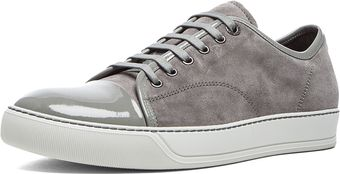 Lanvin Calfskin Suede and Patent Low Top - Lyst