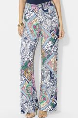 Lauren by Ralph Lauren Print Stretch Wide Leg Pants - Lyst