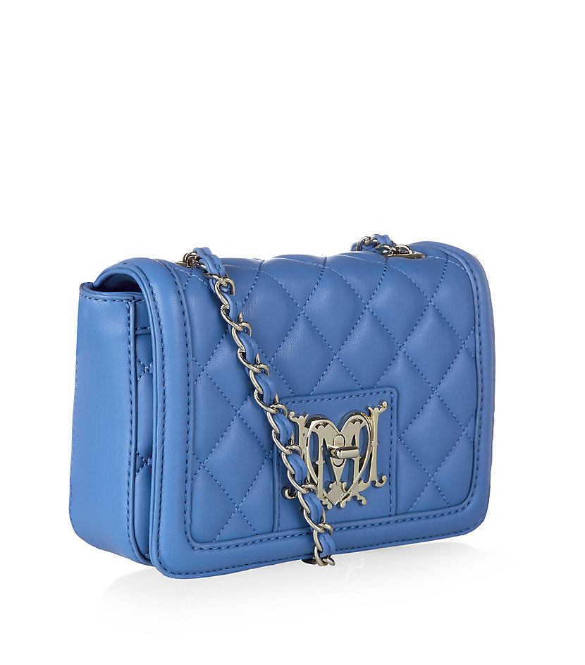 love moschino quilted crossbody bag in blue lyst. Black Bedroom Furniture Sets. Home Design Ideas