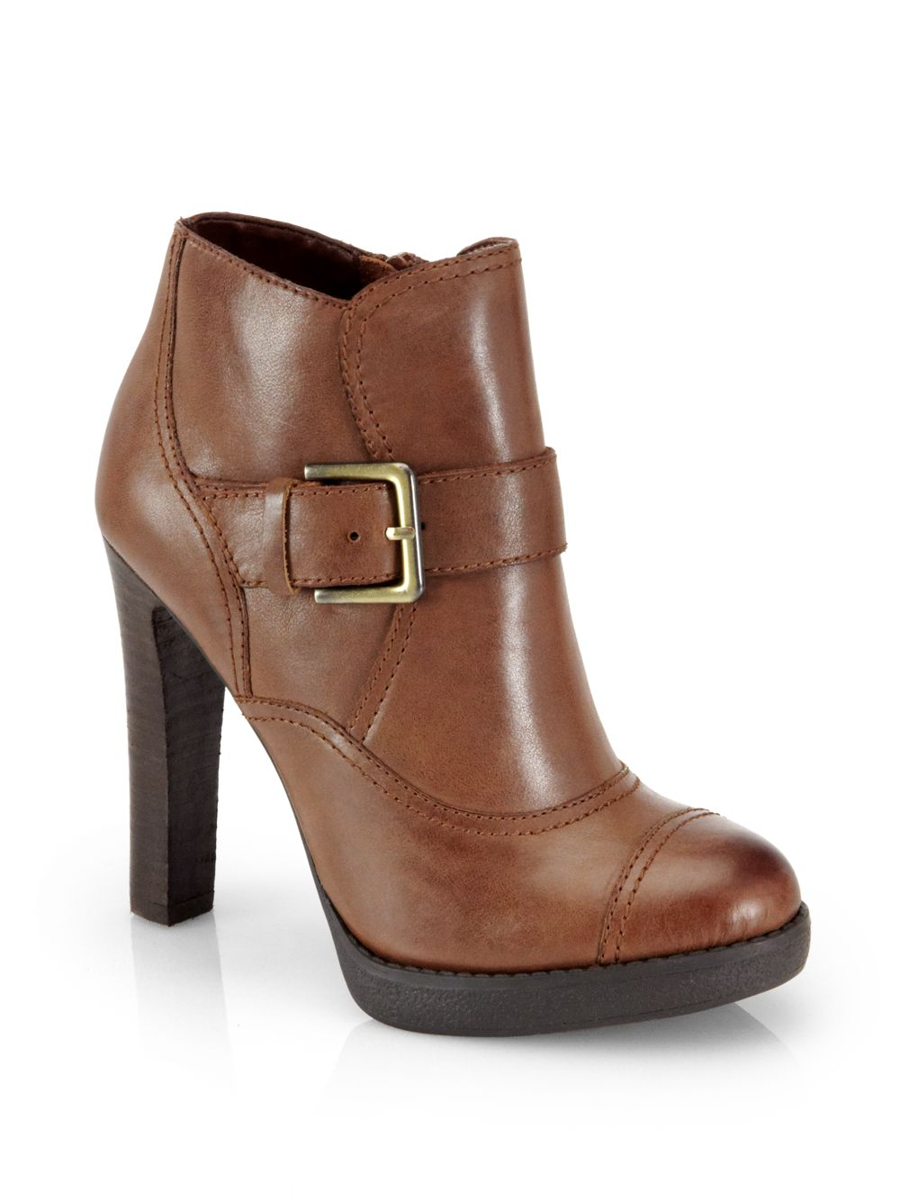 luxury rebel pandora platform ankle boots in brown lyst