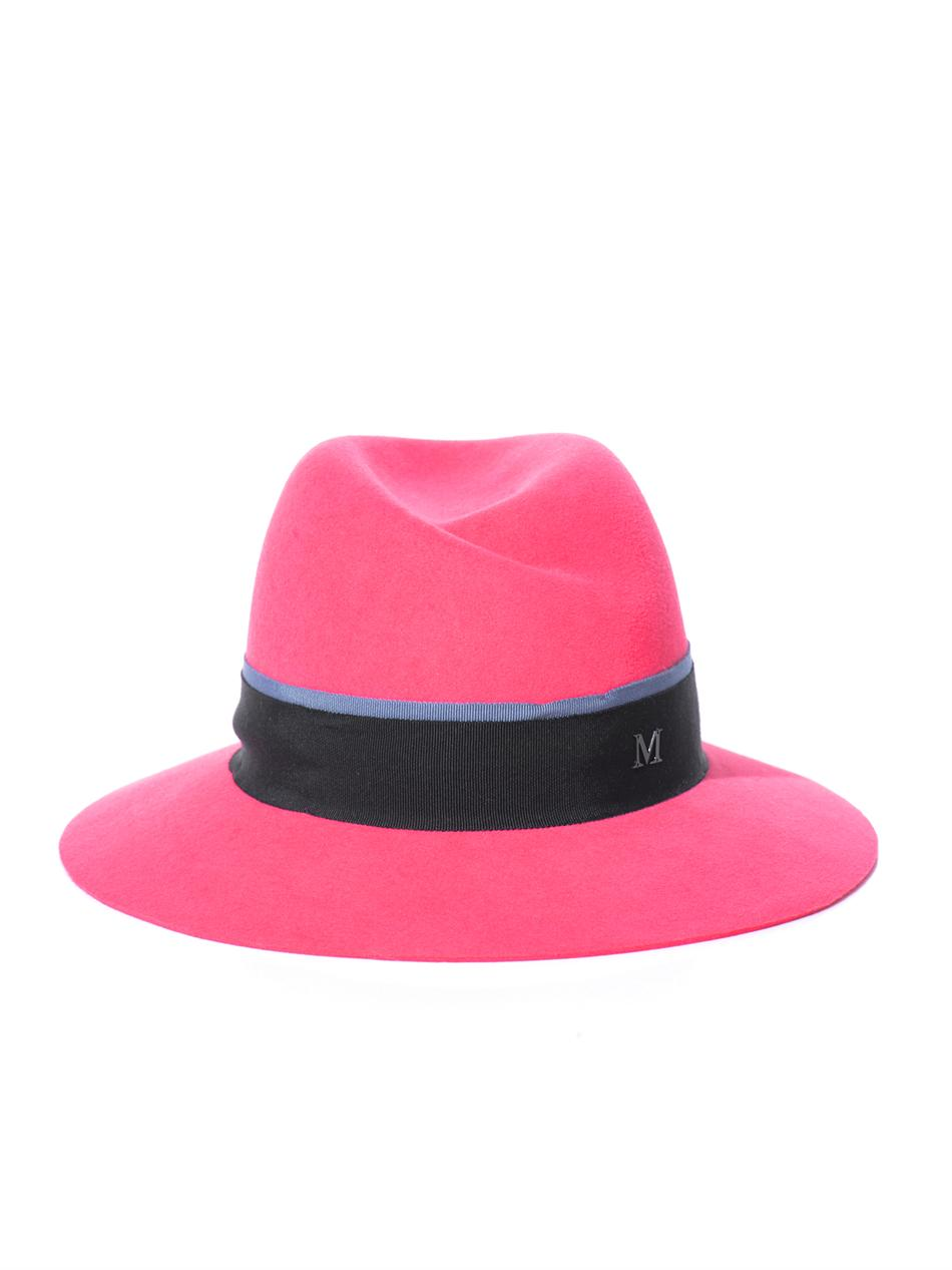 Lyst - Maison Michel Virginie Fedora Hat in Pink ed81e964be4