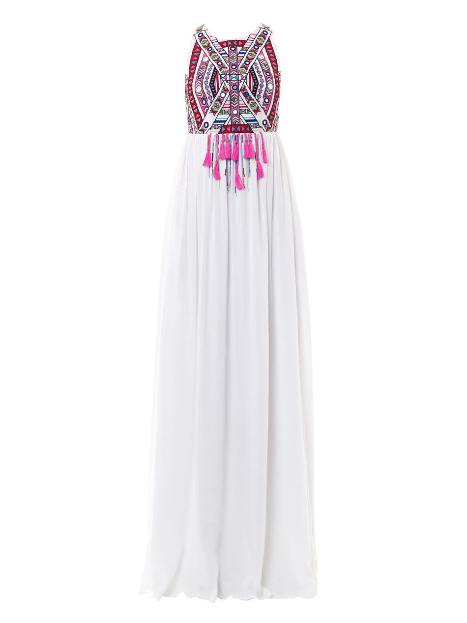 Lyst mara hoffman embroidered maxi dress in white