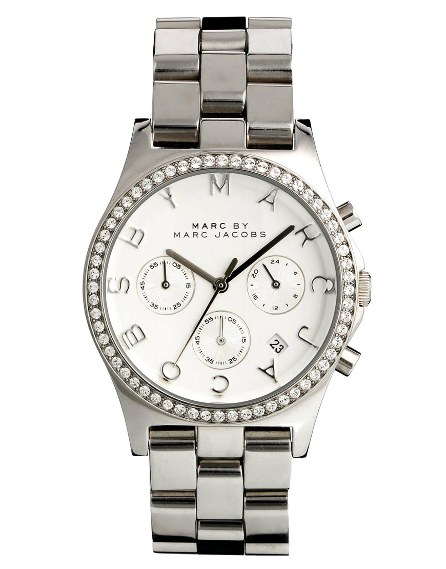 marc by marc jacobs henry glitz silver watch in silver lyst