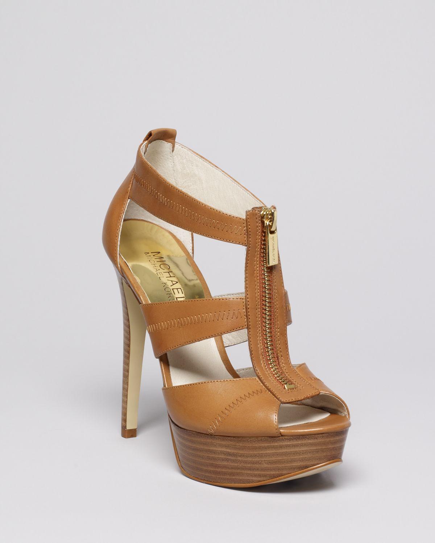 michael michael kors peep toe platform sandals berkley high heel in brown lyst. Black Bedroom Furniture Sets. Home Design Ideas