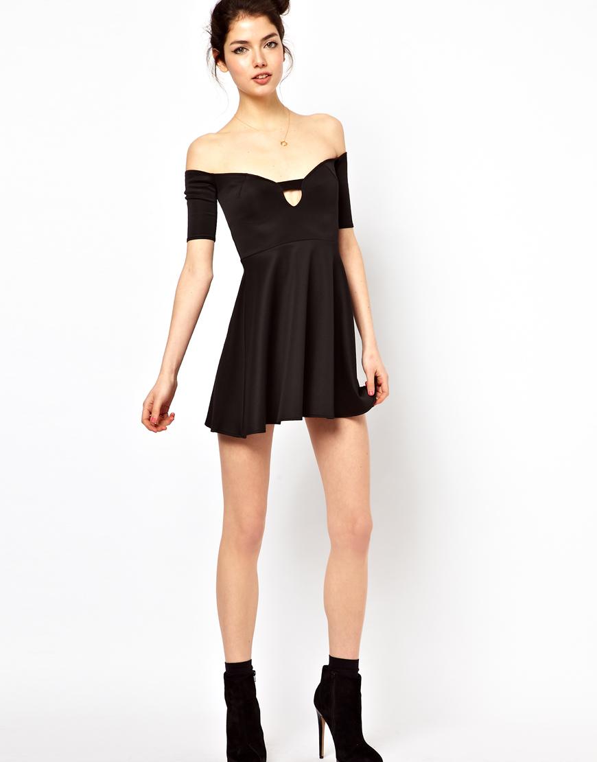 db76b36b Oh My Love Off The Shoulder Skater Dress in Black - Lyst