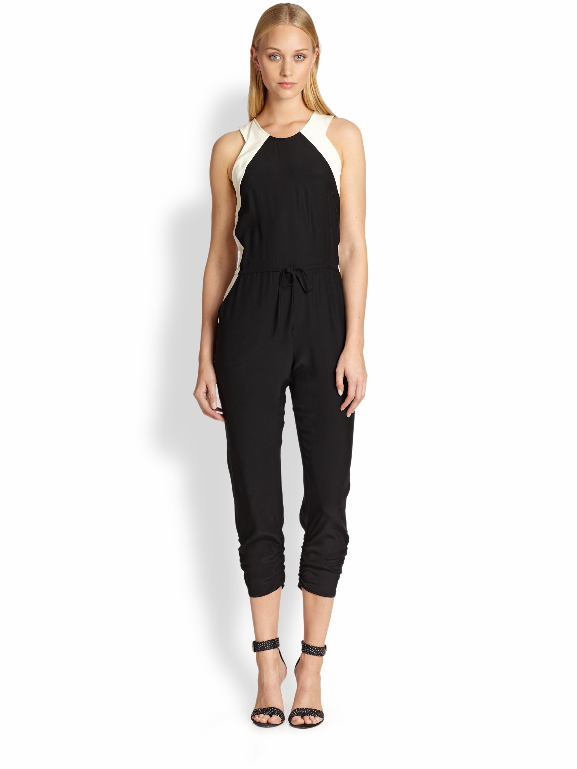 9320a2e0af Lyst - Parker Kaysha Silk Two-tone Cropped Jumpsuit in Black