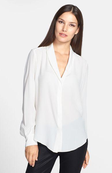 Shawl Collar Blouse White 57