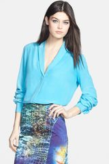 Rachel Roy Shawl Collar Silk Blouse - Lyst