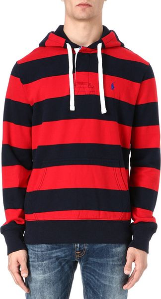 Ralph Lauren Hooded Rugby Sweatshirt - Lyst