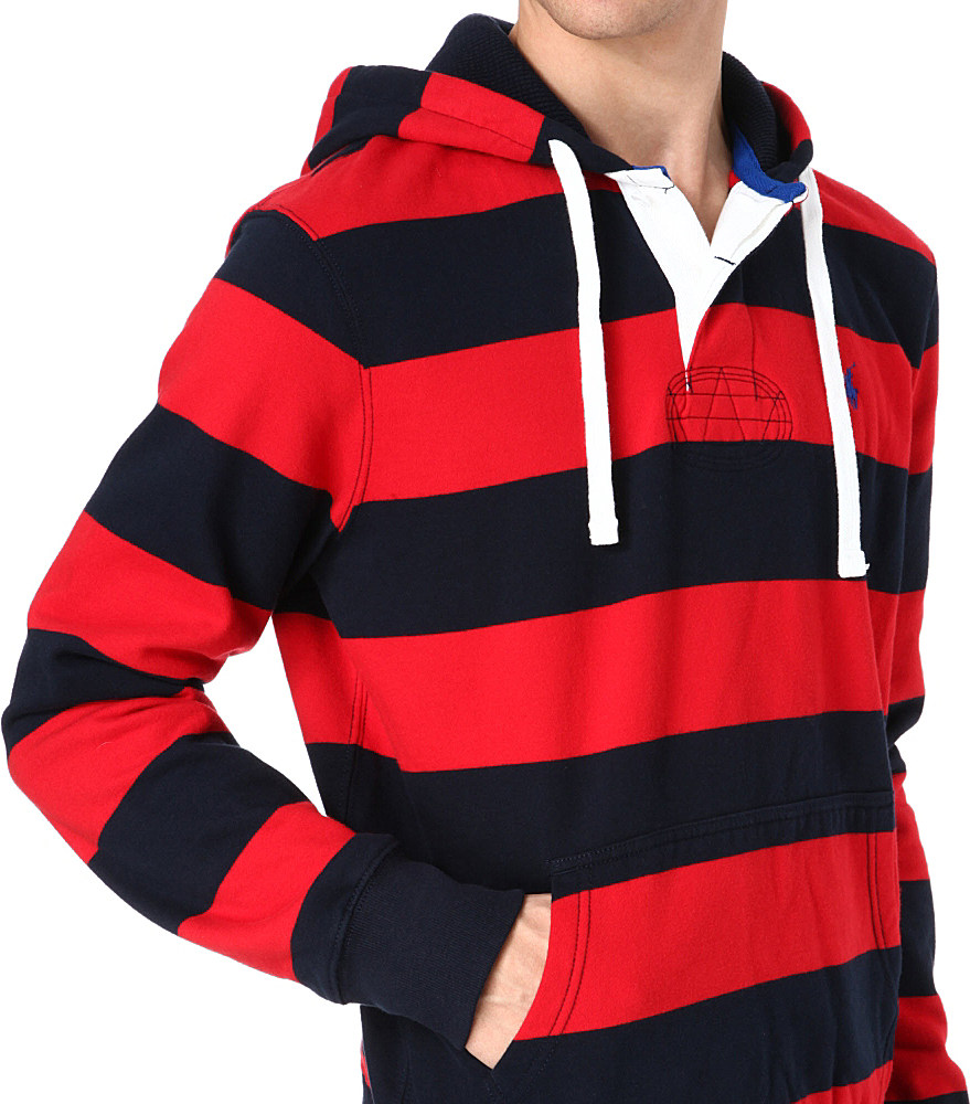 259d5b5b5cb Ralph Lauren Hooded Rugby Sweatshirt in Red for Men - Lyst