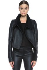Rick Owens Biker Leather and Shearling Jacket - Lyst