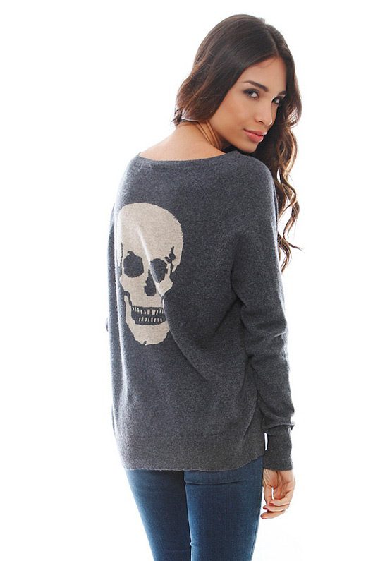 Skull Cashmere Luther V Neck Skull Sweater In Gray Gunmetal Oatmeal Lyst