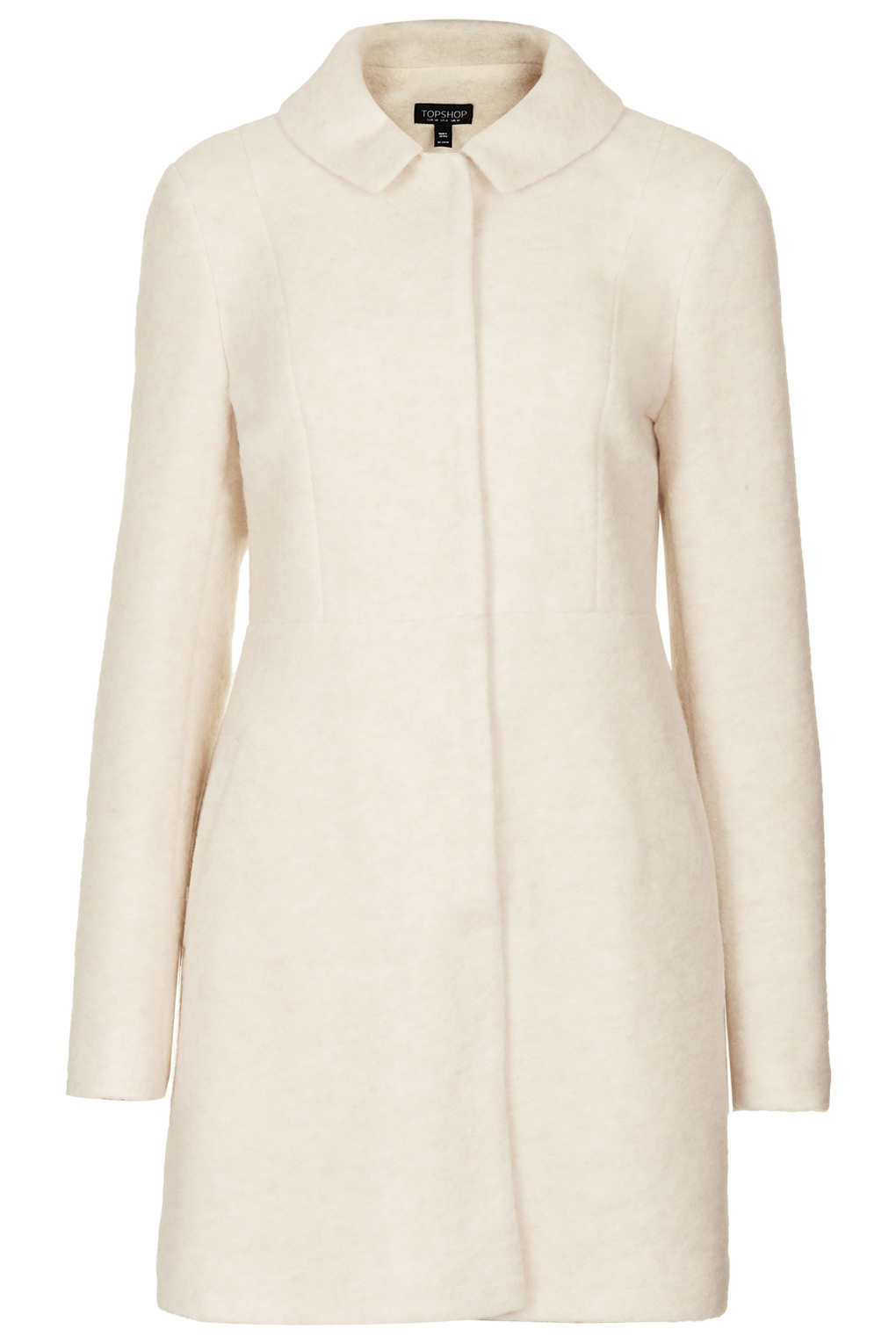 Topshop Boiled Wool Skirted Coat In Natural Lyst