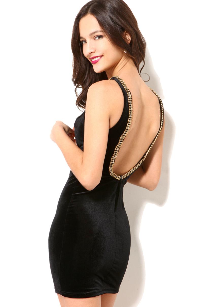 Akira Jeweled Neck Velvet Mini Dress In Black Lyst