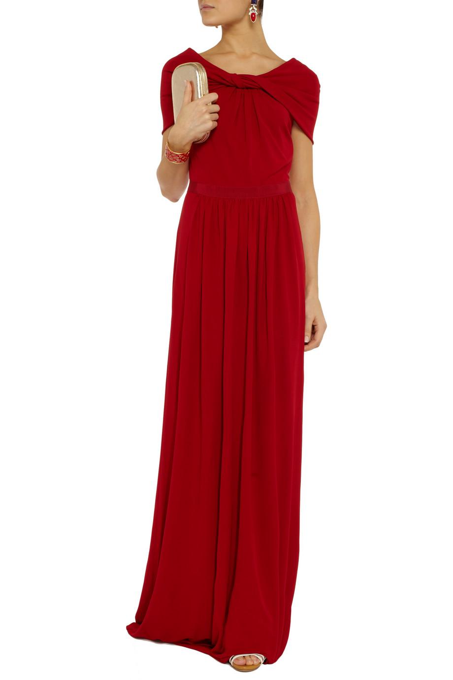 Giambattista Valli Draped Stretch Crepejersey Gown in Red - Lyst 36e366cd8