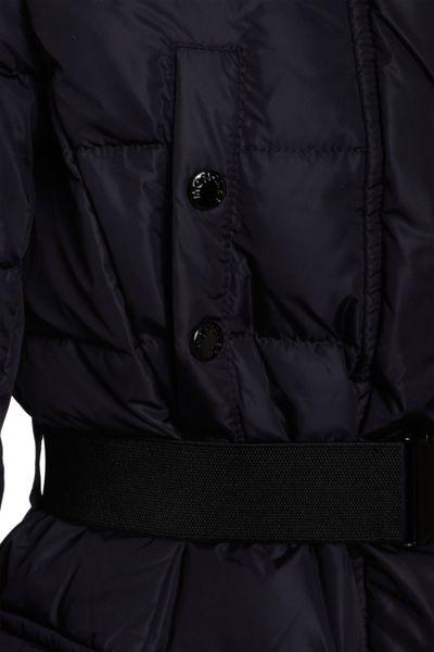 Moncler Fur Trimmed Hood Long Coat In Black Blue Lyst