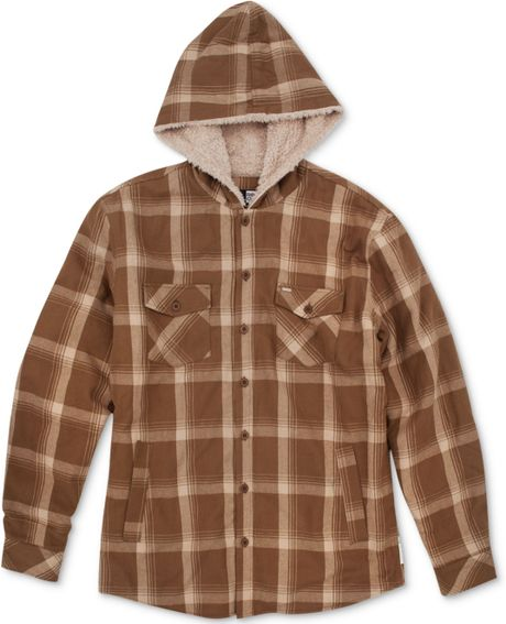 Rip Curl Sherpa Lined Hooded Plaid Flannel Shirt In Brown