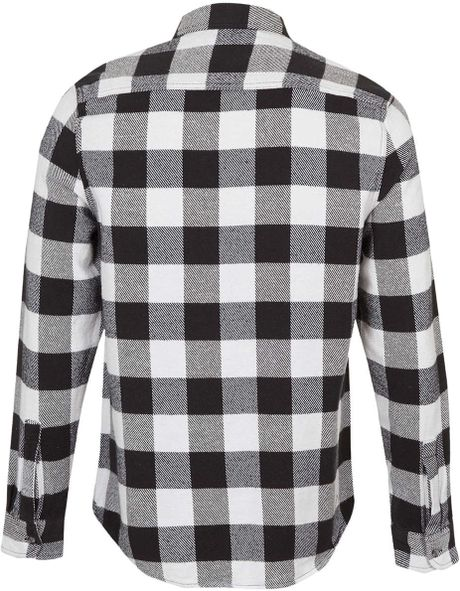 Topman Monochrome Buffalo Check Long Sleeve Flannel Shirt