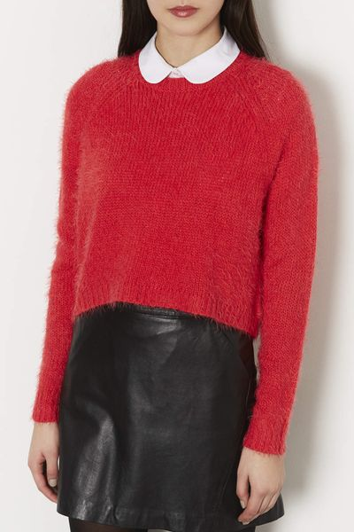 Knitting Pattern Fluffy Jumper : Topshop Knitted Fluffy Crew Jumper in Red Lyst