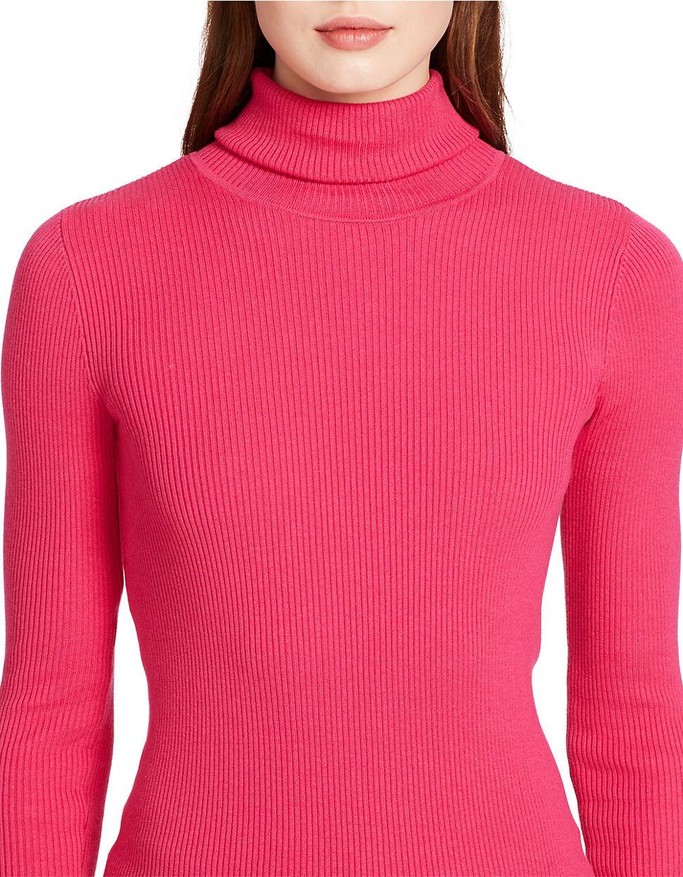 Lauren by ralph lauren Petite Ribbed Turtleneck Sweater in Pink | Lyst