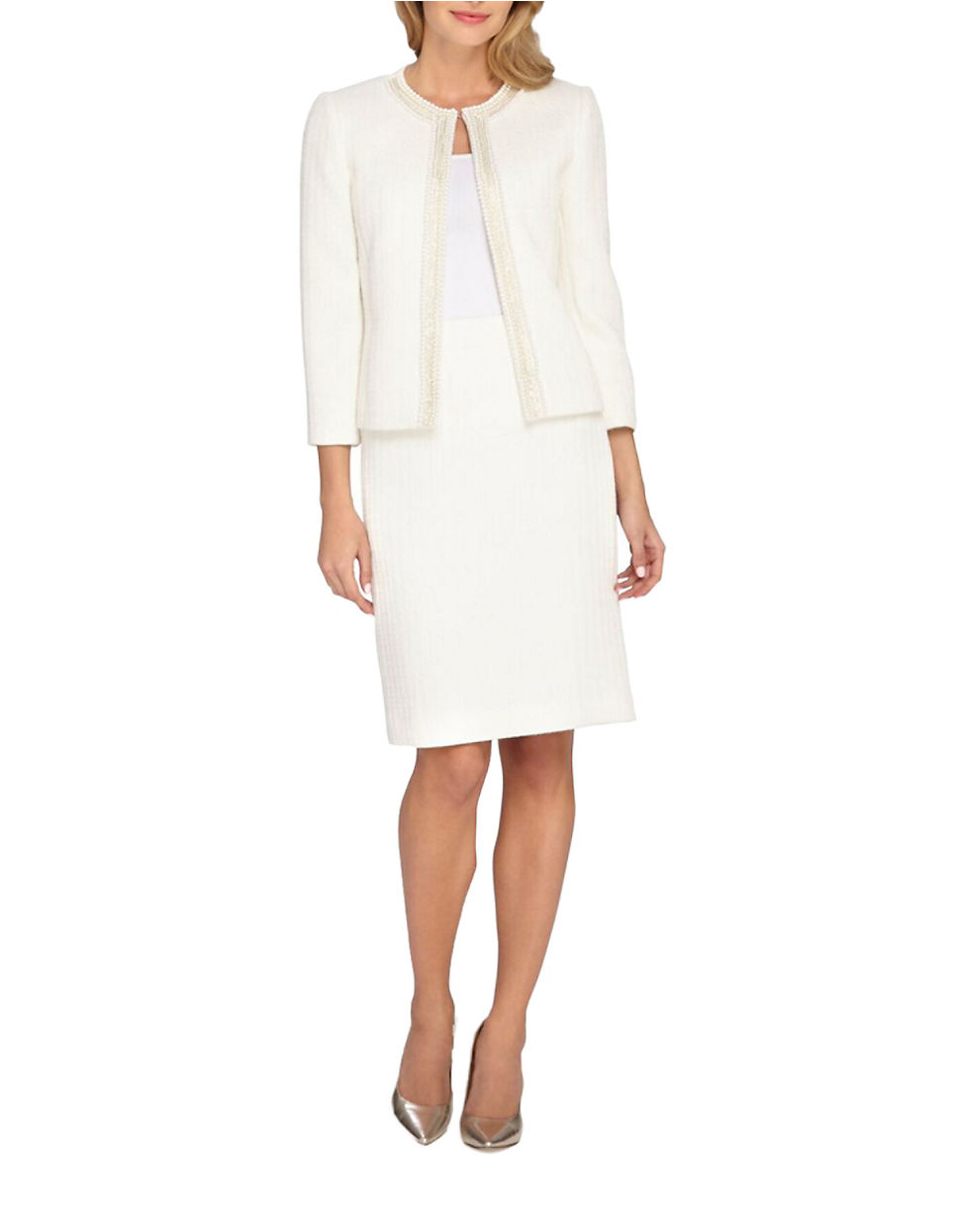 Lyst - Tahari 2-piece Embellished Jacket And Skirt Set in ...