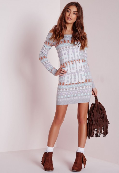 Missguided Bah Humbug Knitted Christmas Jumper Dress In