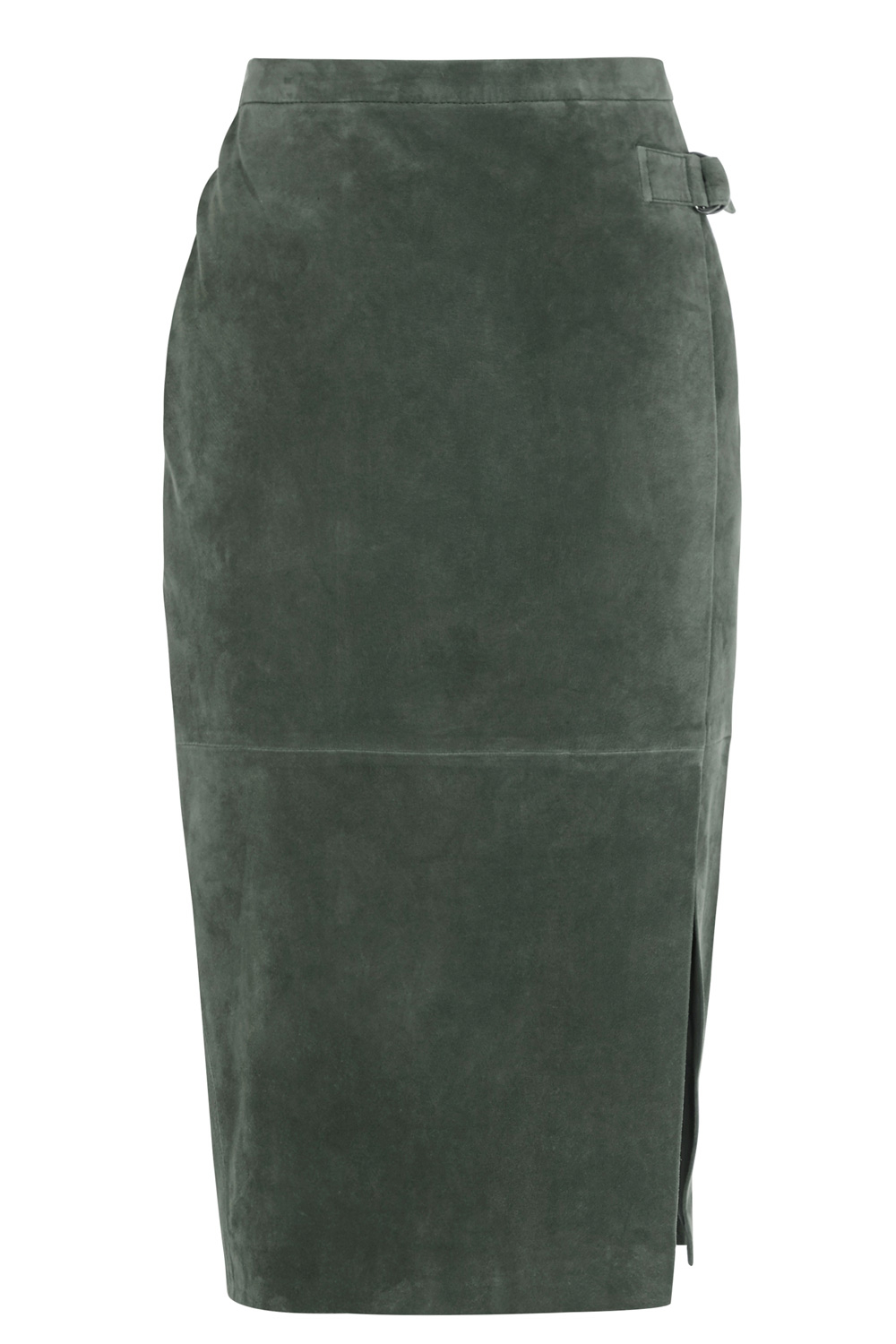 Oasis Suede Wrap Pencil Skirt in Green | Lyst