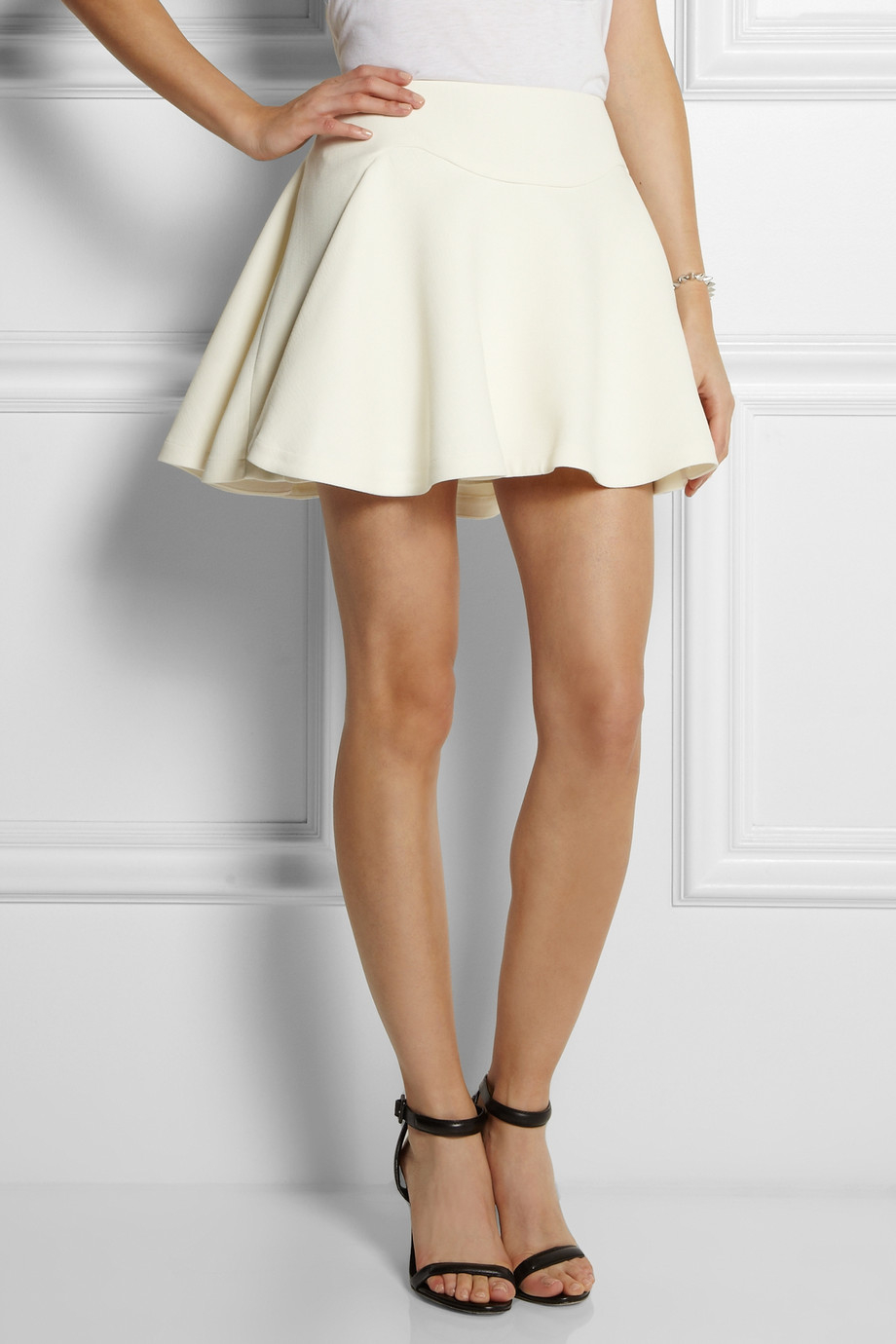 Jay ahr Flared Stretchcrepe Mini Skirt in White | Lyst