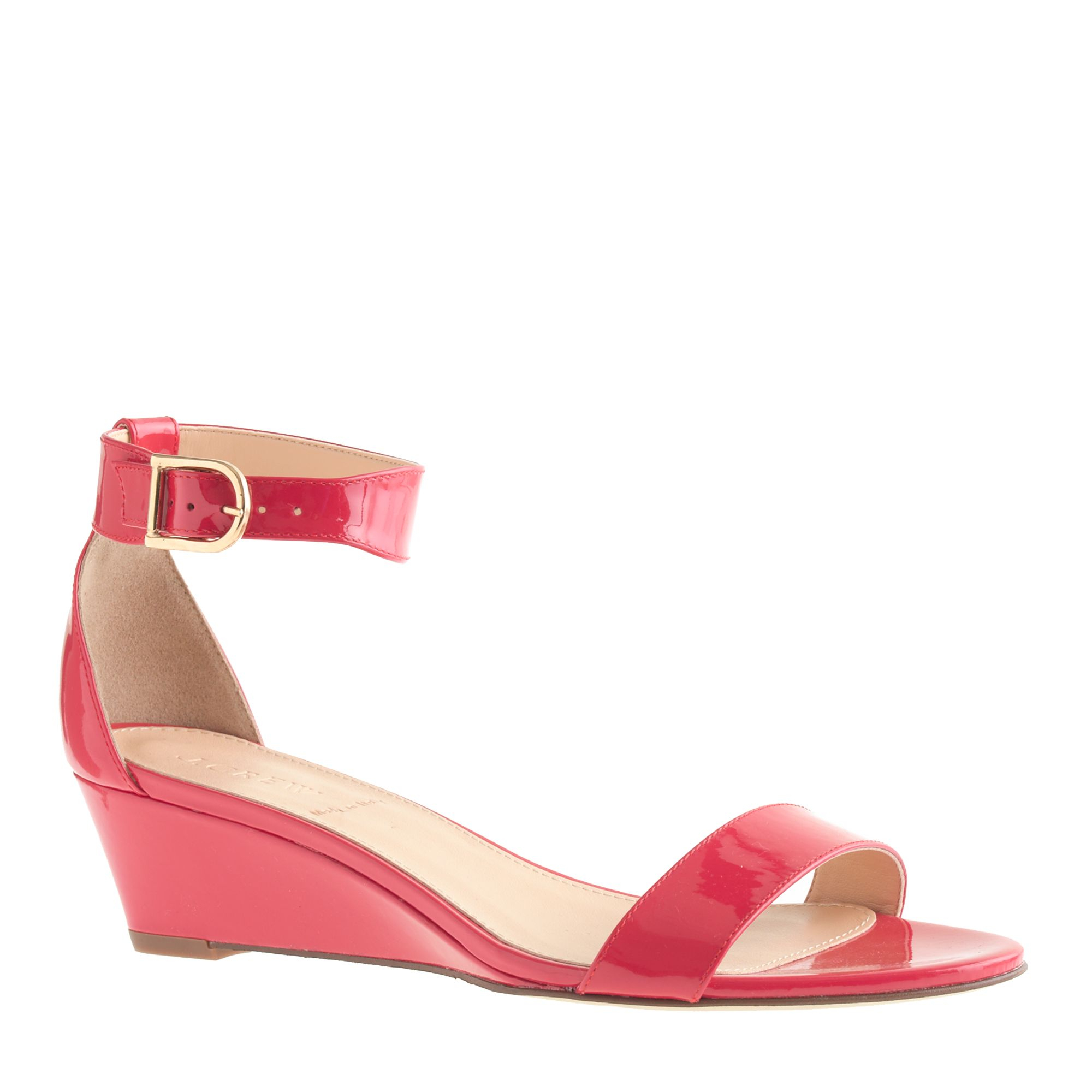j crew lillian patent low wedges in pink bright poppy lyst