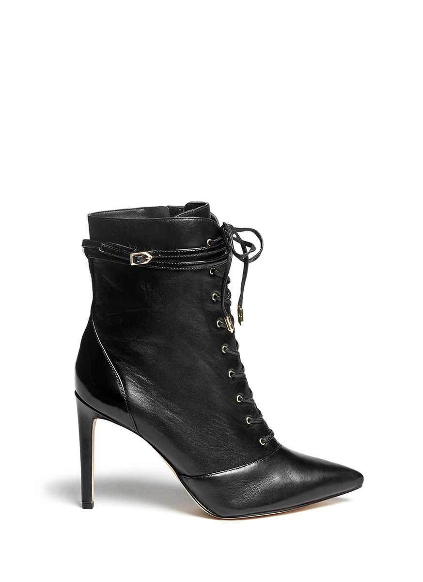 ae14830e196ea1 Sam Edelman  bryton  Lace-up Leather Boots in Black - Lyst