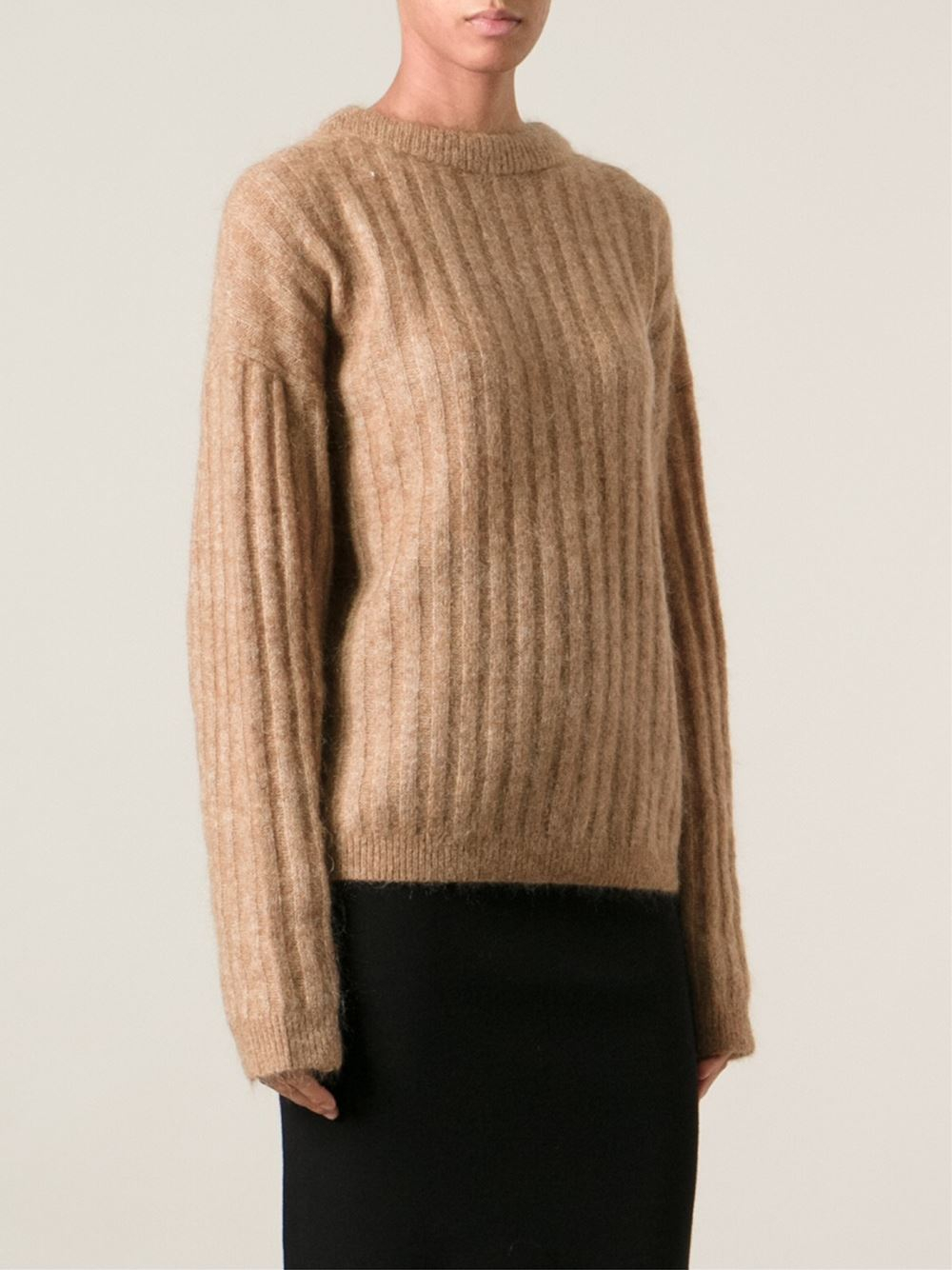Acne studios Ribbed Knit Sweater in Natural | Lyst