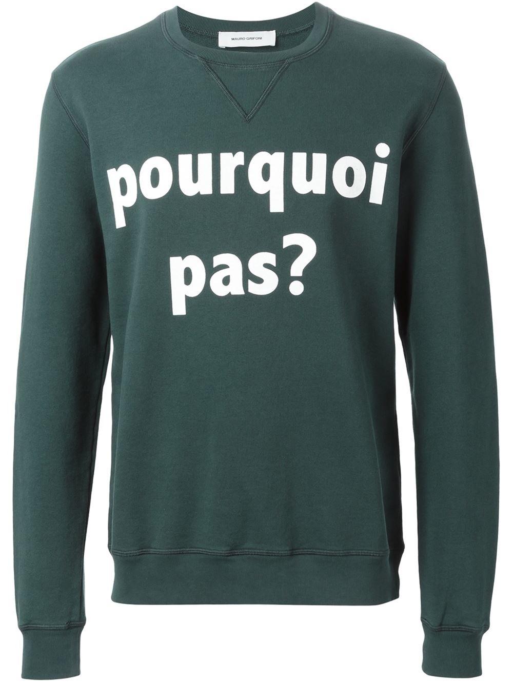 Mauro grifoni pourquoi pas print sweatshirt in green for for Pourquoi pas