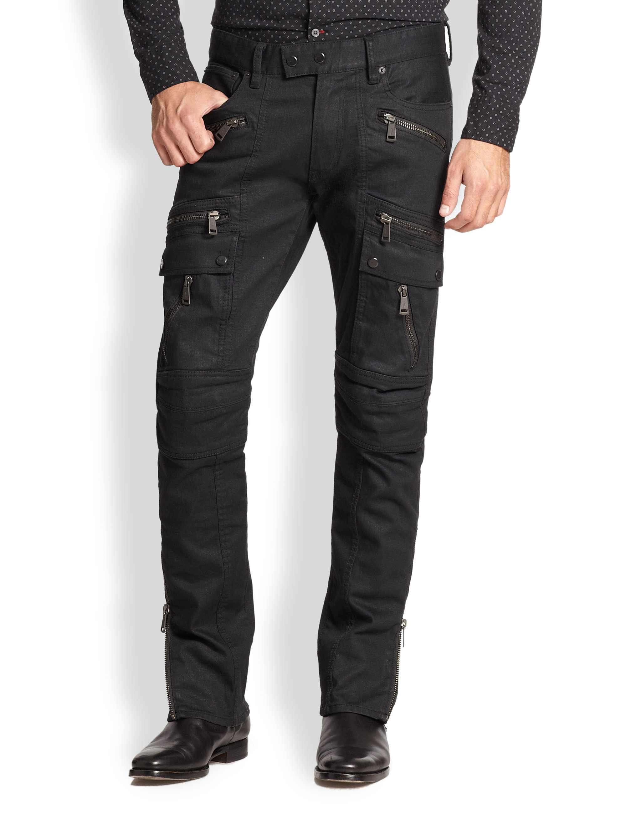 lyst ralph lauren black label defender moto jeans in black for men. Black Bedroom Furniture Sets. Home Design Ideas