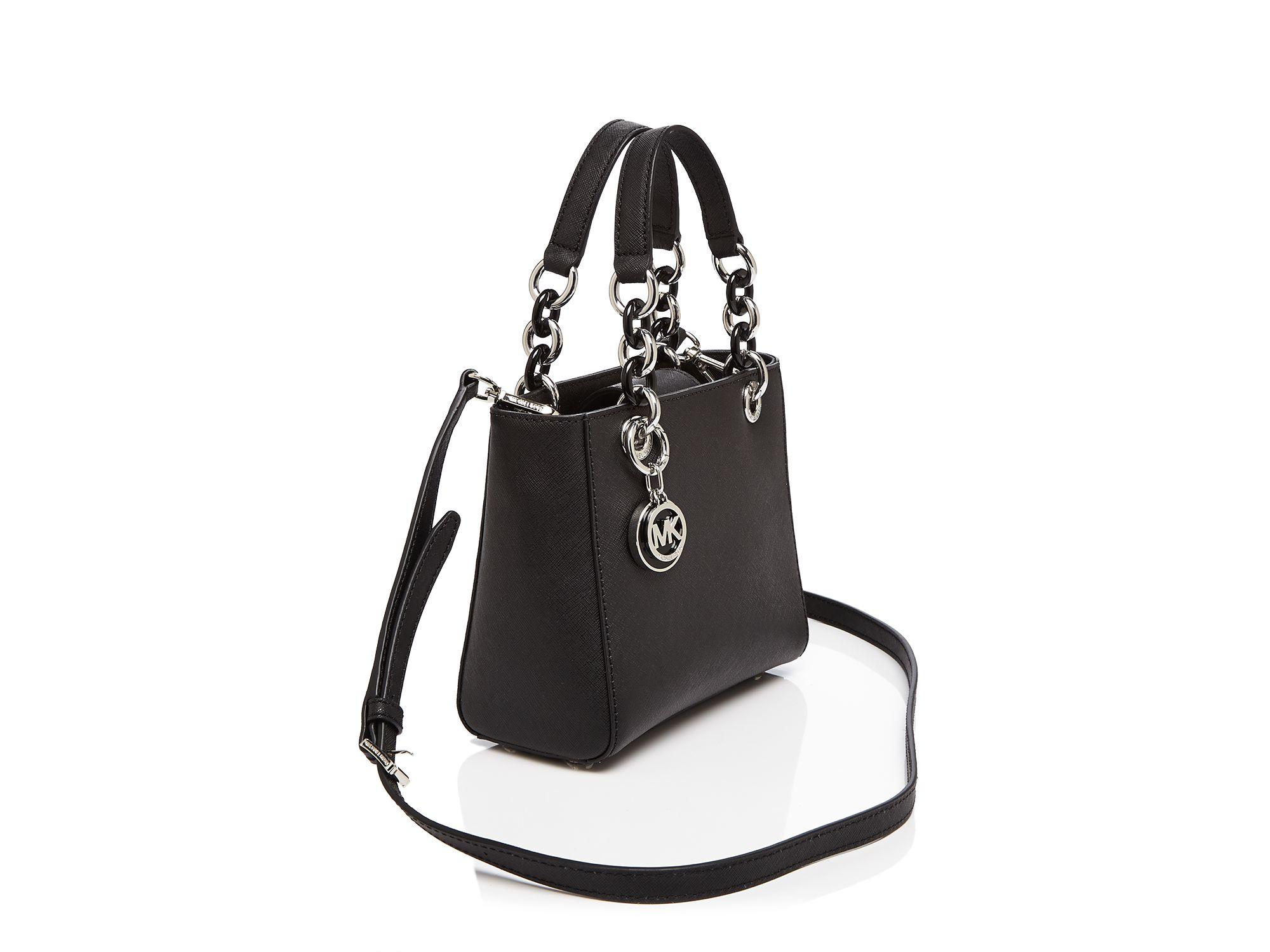 b330fddb3913 ... saffiano leather satchel 96126 5e36d reduced michael michael kors extra small  cynthia satchel in black lyst 4367c 6916e ...