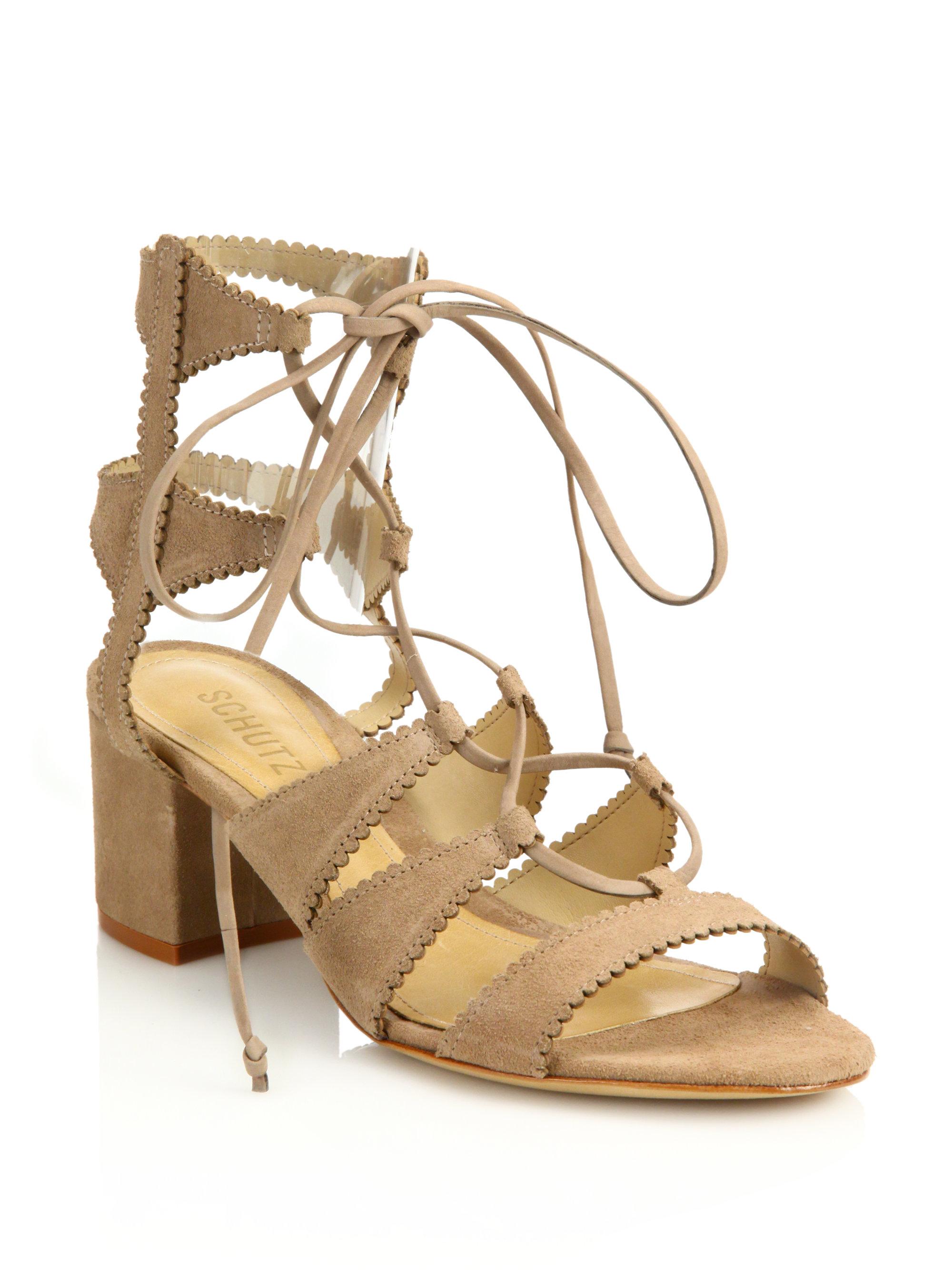 ce26f9eed6f Lyst - Schutz Latisha Mid-heel Suede Gladiator Sandals in Brown