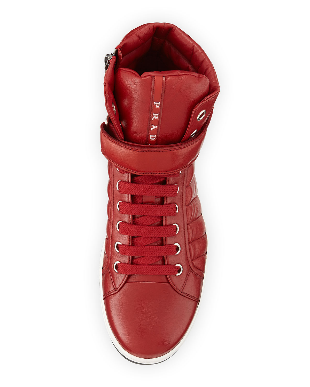 prada red quilted high tops